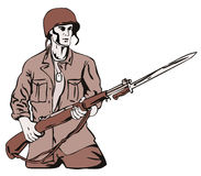Soldier with bayonet. Vector art of a Soldier with bayonet stock illustration