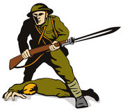 Soldier with bayonet standing Royalty Free Stock Images