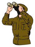 Soldier with binoculars. Vector art of a Soldier with binoculars stock illustration