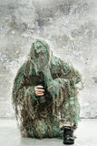 Soldier with binoculars Stock Image