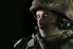 Soldier on black background Stock Image