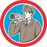 Soldier Blowing Bugle Circle Retro. Illustration of a soldier military police personnel  blowing a bugle set inside a circle done in retro style Stock Image