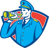 Soldier Blowing Bugle Crest. Illustration of a soldier military police personnel  blowing a bugle set inside crest shield done in retro style Stock Photo