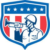 Soldier Blowing Bugle Crest Stars Retro. Illustration of a soldier military police personnel  blowing a bugle set inside crest shield with stars stripes done in Stock Image