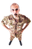 Soldier Blowing the whistle Royalty Free Stock Images