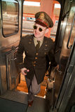 Soldier boarding Troop Train Stock Photo