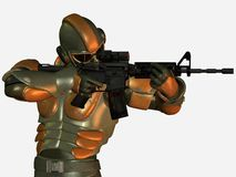 Soldier in body armor with gun Stock Images