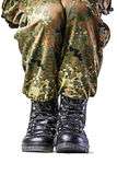Soldier. Boots in different looks in german uniform Royalty Free Stock Images