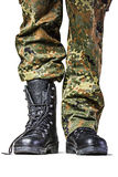 Soldier. Boots in different looks in german uniform Stock Photography