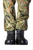 Soldier. Boots in different looks in german uniform Royalty Free Stock Image