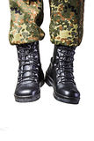 Soldier. Boots in different looks in german uniform Royalty Free Stock Photos