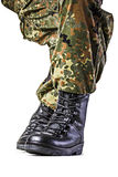 Soldier. Boots in different looks in german uniform Royalty Free Stock Photography