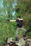 Soldier with bow and arrow Royalty Free Stock Photos
