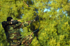 Soldier with bow and arrow Royalty Free Stock Photo