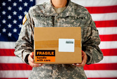 Soldier: Box From Home Stock Photography