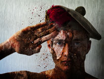 Soldier Boy War Salute Beret Stock Photos