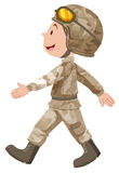 Soldier in brown uniform walking Royalty Free Stock Images