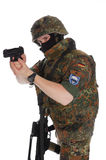 Soldier of the Bundeswehr. One soldier of army of Germany with the weapon stock images