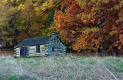 Soldier Cabin Valley Forge Pennsylvania. Soldier's cabin with Fall foliage at Valley Forge National Park, Pennsylvania stock photos