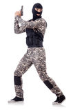 Soldier in camouflage with gun Stock Photo