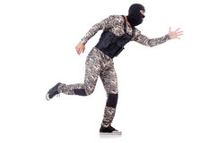 Soldier. In camouflage isolated on white Royalty Free Stock Images