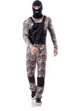 Soldier in camouflage. Isolated on white Royalty Free Stock Photography