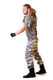 Soldier in camouflage uniform Stock Photography