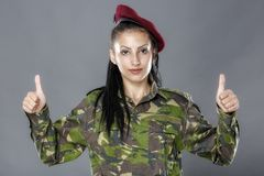 soldier in camouflage uniform looks ok sign Stock Images