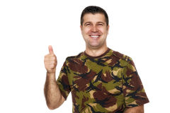 Soldier in camouflage uniform showing ok sign Royalty Free Stock Photo