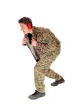 Soldier in camouflage uniform. Royalty Free Stock Image