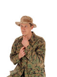 Soldier in camouflage uniform. Royalty Free Stock Images