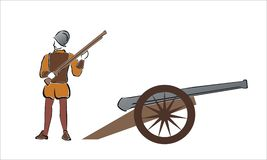 Soldier and cannon Stock Photography