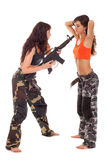 Soldier and captive. Image of two models playing roles of a soldier and captive Stock Images