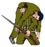 Soldier carrying wounded. Vector art of a Soldier recung a wounded comrade royalty free illustration