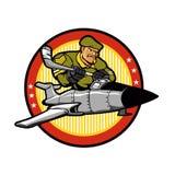 Soldier cartoon in aircraft .Hockey emblem Stock Photo