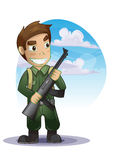 Soldier cartoon with separated layers Stock Photo