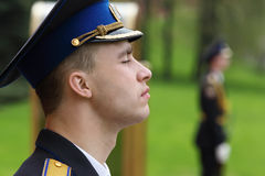 Soldier at ceremony of wreath laying Stock Image