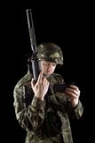 Soldier changing magazine of m16 Royalty Free Stock Image