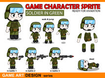 Soldier Character Game Sprite in Chibi anime style Stock Photography