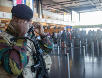 Soldier on Charleroi Airport in Belgium Royalty Free Stock Images