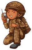 A soldier with a communication tool Royalty Free Stock Photography