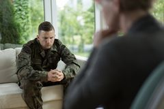 Soldier during counseling session Royalty Free Stock Photo