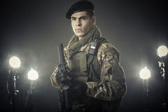 Soldier from dark Royalty Free Stock Image