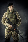 Soldier from dark Stock Photography
