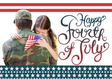 soldier with daughter. happy fourth of July. stock image