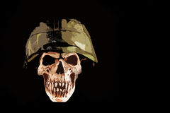 Soldier of death. Death skull whit militaryhelmet on black background, illustration Stock Illustration