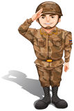 A soldier demonstrating a hand salute Royalty Free Stock Image