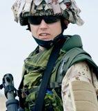 Soldier in desert uniform Stock Image