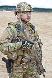 Soldier in the desert. US soldier in the desert during the military operation stock photography