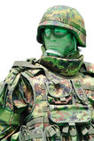 Soldier with digital camouflage uniform Stock Photos